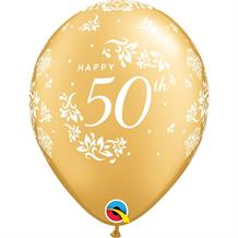 "Golden Wedding 50th Anniversary 11"" Qualatex Latex Party Balloons"