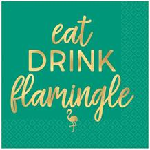 Eat Drink Flamingle | Flamingo Party Beverage Napkins | Serviettes