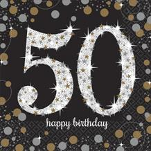 Gold Sparkle 50th Birthday Party Napkins