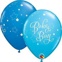 "Blue Stars Baby Boy | Baby Shower 11"" Qualatex Latex Party Balloons"