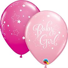 "Pink Stars Baby Girl | Baby Shower 11"" Qualatex Latex Party Balloons"