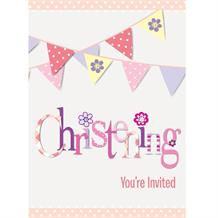 Pink Bunting Christening Party Invites | Invitations