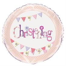 "Pink Bunting Christening Party 18"" Foil Helium Balloon"
