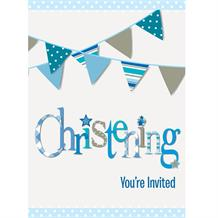 Blue Bunting Christening Party Invites | Invitations