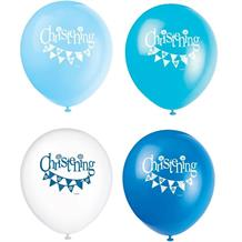"Blue Bunting Christening 12"" Party Latex Balloons"