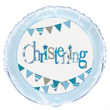"Blue Bunting Christening Party 18"" Foil Helium Balloon"