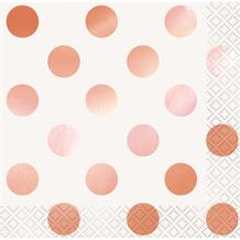 Rose Gold Foil Polka Dots Party Beverage Napkins | Serviettes