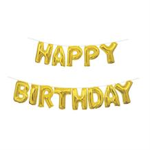 Gold Happy Birthday Letter Balloon Banner