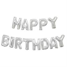 Silver Happy Birthday Letter Balloon Banner