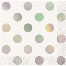 Iridescent Foil Polka Dots Party Beverage Napkins | Serviettes