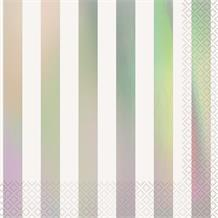 Iridescent Foil Striped Party Napkins | Serviettes