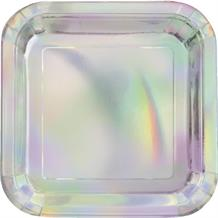 Iridescent Foil Party Square Cake Plates
