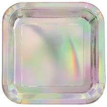 Iridescent Foil Party 23cm Square Party Plates