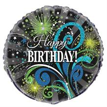 "Black and Green Sparkle | Swirl Happy Birthday 18"" Foil 