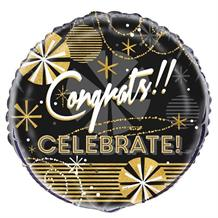 "Congrats! Celebrate Black and Gold 18"" Foil 