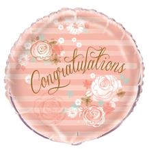 "Congratulations Pink and Gold Floral 18"" Foil 