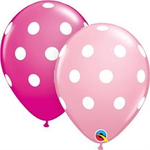 "Baby and Hot Pink Big Polka Dots 11"" Qualatex Latex Party Balloons"