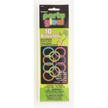Party Glow Stick | Glow in the Dark Bracelets 10 Pack Assorted Colours