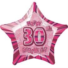 "Pink Glitz 30th Happy Birthday 20"" Star Foil Helium Balloon"