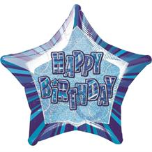 "Blue Glitz Happy Birthday 20"" Star Foil Helium Balloon"