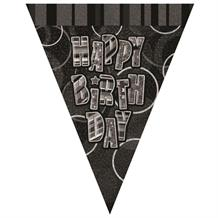 Black Glitz Happy Birthday Flag Banner | Bunting | Decoration