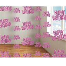 Pink Glitz Happy Birthday Party Hanging String Decorations