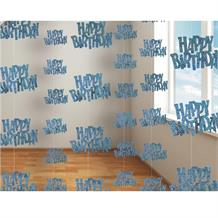 Blue Glitz Happy Birthday Party Hanging String Decorations