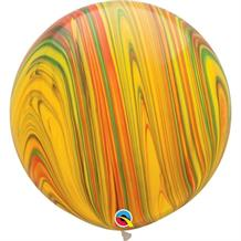 "Traditional | Primary Colours SuperAgate Marble 30"" Qualatex Decorator Latex Party Balloons"