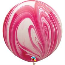 "Red and White Colours SuperAgate Marble 30"" Qualatex Decorator Latex Party Balloons"
