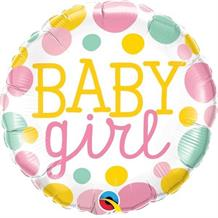 "Baby Girl Pink Dots Baby Shower 18"" Foil 