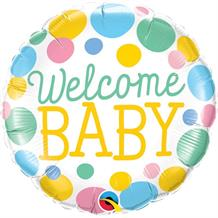"Welcome Baby Dots | Baby Shower 18"" Foil 
