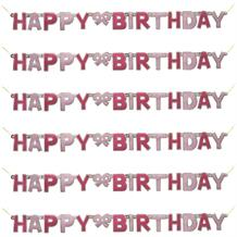 Pink Glitz Happy Birthday Paper Letter Banner