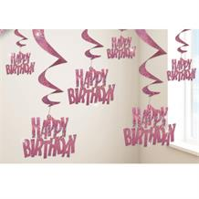Pink Glitz Happy Birthday Party Hanging Swirl Decorations