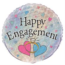"Happy Engagement Pink and Blue Hearts 18"" Foil 