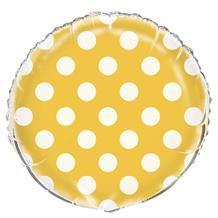 "Sunflower Yellow Polka Dot Party 18"" Foil 