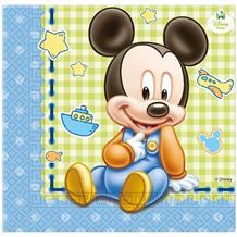 Baby Mickey Mouse Gingham Party Napkins | Serviettes