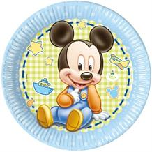 Baby Mickey Mouse Gingham 23cm Party Plates