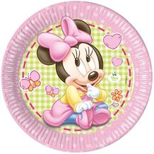 Baby Minnie Mouse Gingham 23cm Party Plates