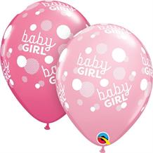 "Baby Pink Baby Girl Dots | Baby Shower 11"" Qualatex Latex Party Balloons"