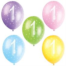 Assorted Colours 1st Birthday Party Latex Balloons