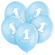 Blue Star 1st Birthday Party Latex Balloons