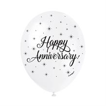 "Happy Anniversary Silver Stars 12"" Latex Party Balloons"