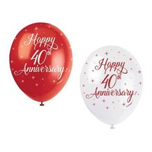 "Happy 40th Anniversary Ruby Stars 12"" Latex Party Balloons"