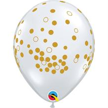 "Gold Confetti Dots 11"" Qualatex Latex Party Balloons"