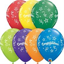"Colourful Congratulations Streamers 11"" Qualatex Latex Party Balloons"