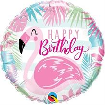 "Pink Flamingo Happy Birthday 18"" Foil 
