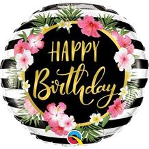 "Floral Tropical Stripes Happy Birthday 18"" Foil 