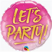 "Let's Party Pink 18"" Foil 