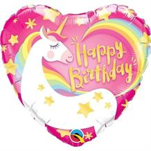 "Magical Unicorn Heart Happy Birthday 18"" Foil 
