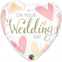 "On Your Wedding Day Hearts 18"" Foil 